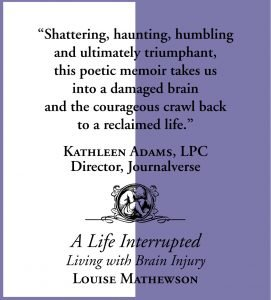 A Life Interrupted Living with Brain Injury by Louise Mathewson quote 2